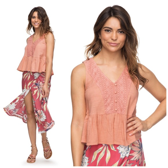 Roxy Tops - Roxy Coral Lace First and Only Boho Tank Top